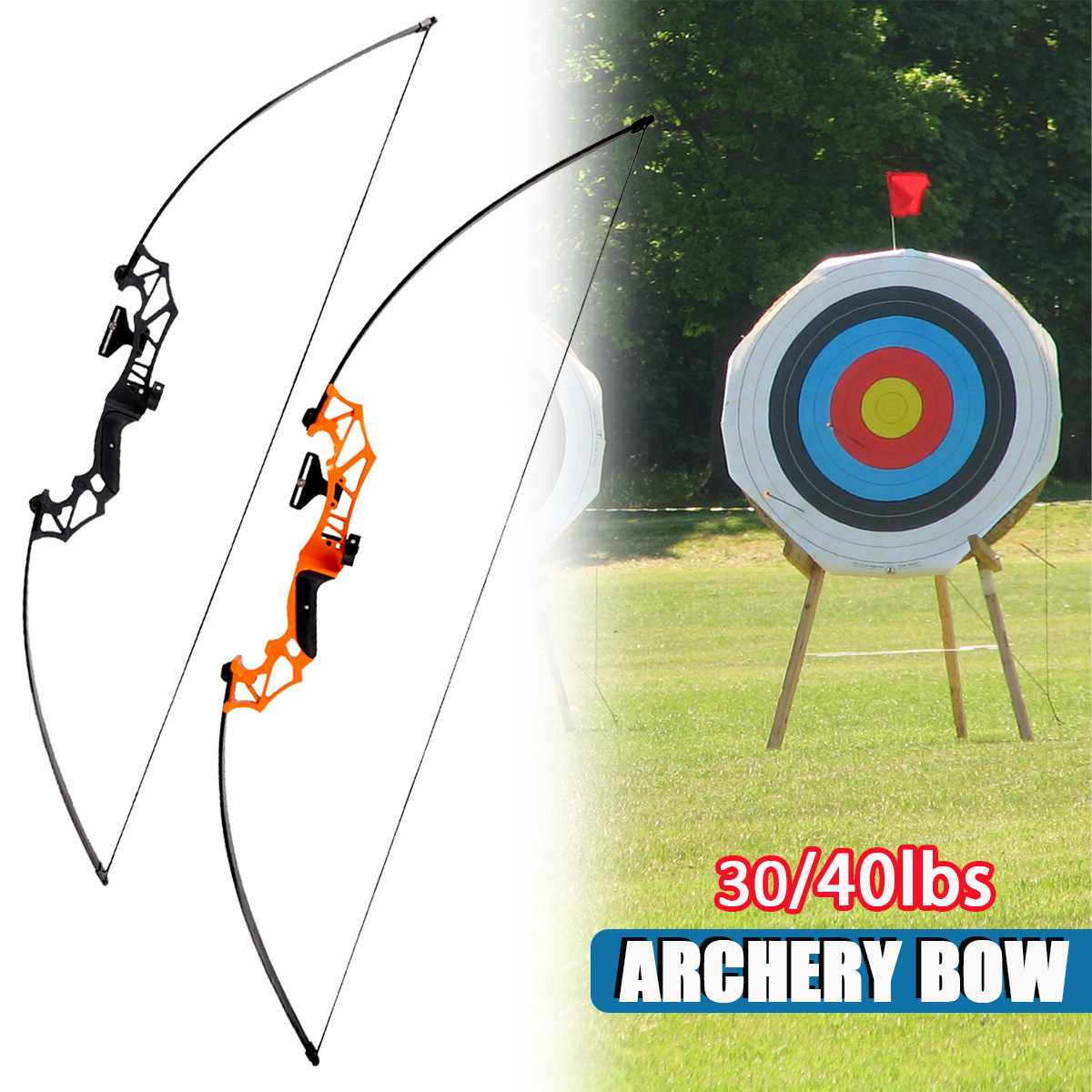 Archery Professional Recurve Bow Takedown Hunting Bow Metal Riser 30/40lbs Right Handed Outdoor Hunting Shooting Fishing