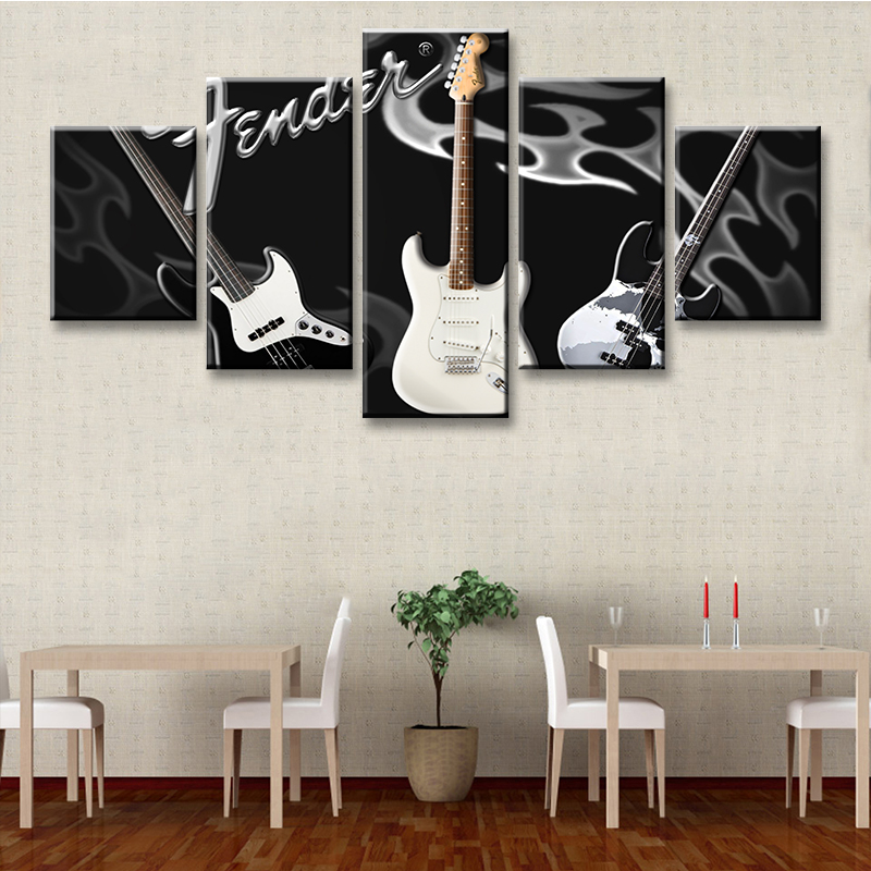 5 Pieces Modern Home Decor Canvas Painting Black Background Electric Guitar Music Poster Hd Printed Art Picture For Living Room Painting Calligraphy Aliexpress