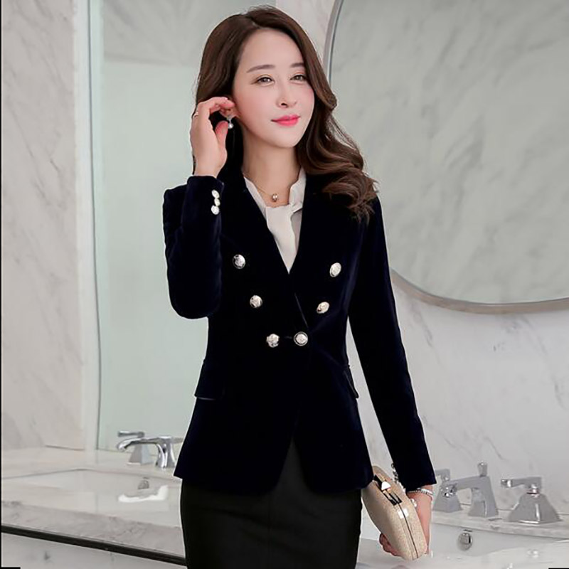 Velvet New Breasted Women Slim Ladies Suit Formal Fashion Lxunyi Korean Spring Deep Sleeve Long Blazer Short burgundy 2019 Double navy Coat Blazers Blue Green wYx5ICqEC