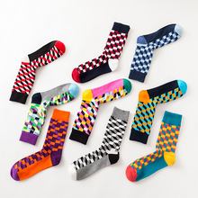 1 Pair/Lot Harajuku Square Lattice Multicolor Men Socks Casual Long Tube Cotton Male Sock
