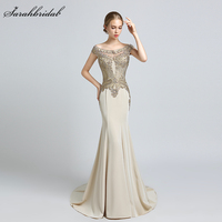 Robe De Soiree 2018 New Arrivals Luxury Elegant Long Mermaid Evening Dresses Satin Party Gowns Formal Real Photos LSX401