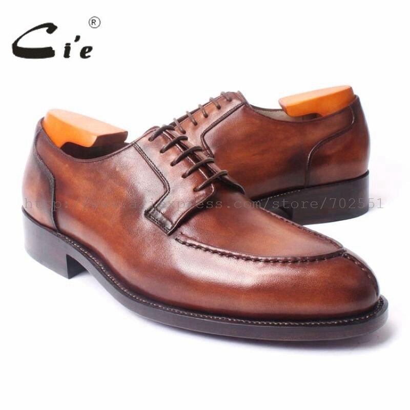 Cie Dedo Do Pé Redondo Lacing Sapato Passado Mais Amplo dos homens Handmade  Vestido Goodyear Welted Sola de Couro Respirável Sapato Derby Marrom Não. 7d1289ae0320b
