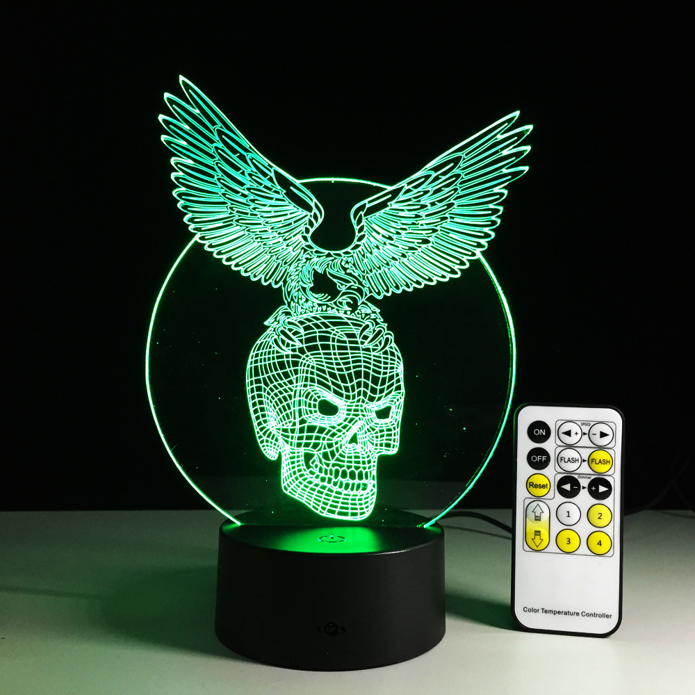 Skull with Eagle 3D Lights Luminarias Night Light Children's Remote Control Acrylic Led Lights Illusion Mood Lamp Drop Ship