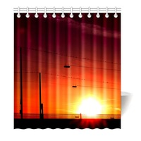 Beautiful Sunset And Fence Wire Shower Curtain Printing Waterproof Mildewproof Polyester Fabric Bath Curtain Bathroom