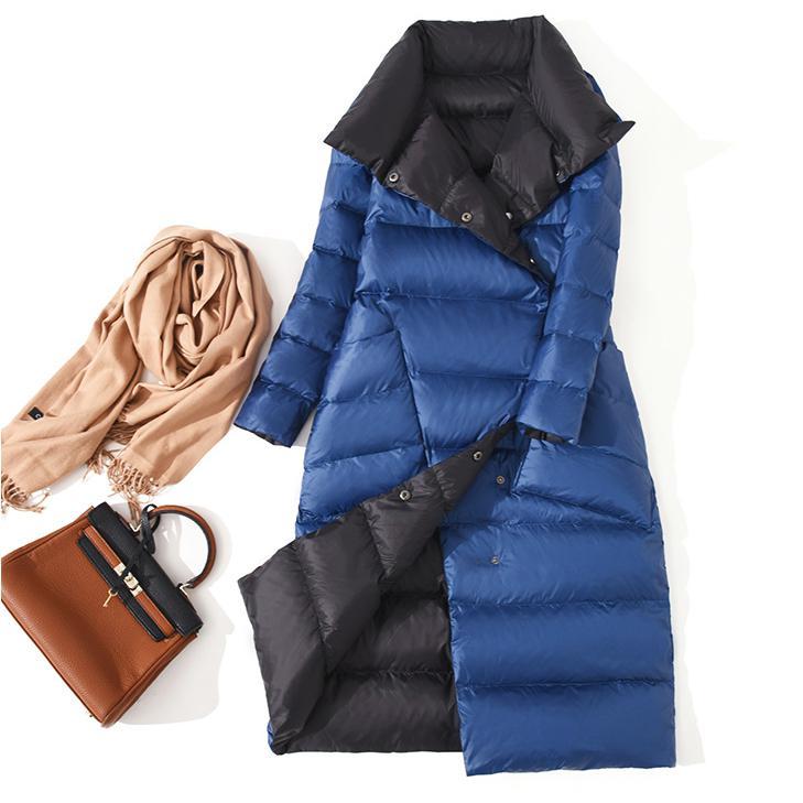 Женская двусторонняя длинная парка Fitaylor, теплая двубортная куртка на белом утином пуху с высоким воротником, зимняя верхняя одежда - Цвет: Синий