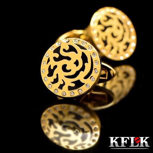 Kflk Deluxe 2018 camisas Gemelos Regalo de boda gemelos de marca para hombres Gemelos de cristal joyas de oro de abotoaduras de alta calidad