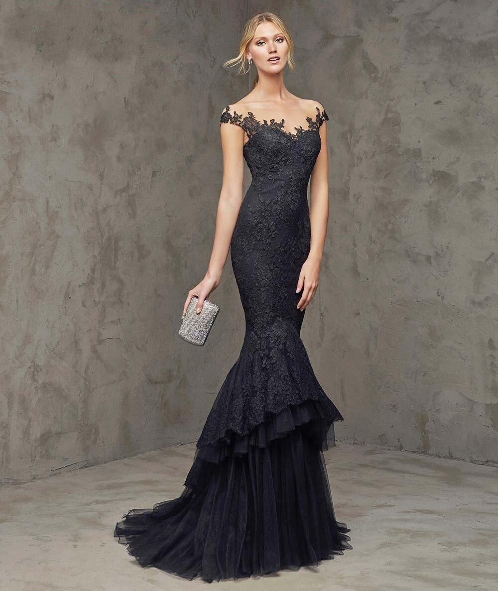 2017 Elegant Off Shoulder Black Mermaid Prom Dresses with Tiered ...