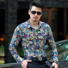 Baroque Gold Floral Shirt Men Luxury Design Mens Dress Shirts Chemise Homme Milk Silk Long Sleeve Bronzing XXXL