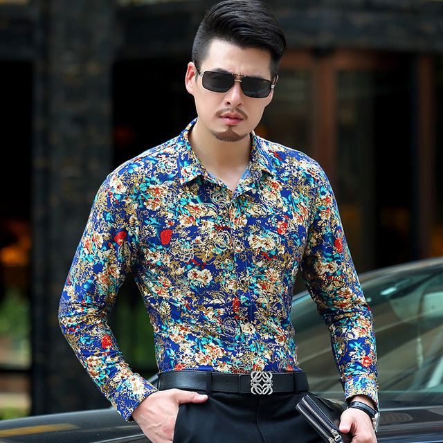Baroque Gold Floral Shirt Men Luxury Design Mens Dress Shirts ...
