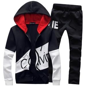 Image 1 - Спортивный костюм мужской с надписью, кофта с капюшоном и штаны, комплект спортивной одежды, большой размер s 5XL