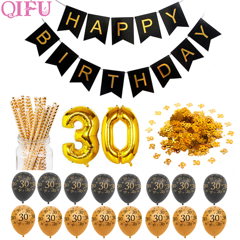 QIFU 40 30 Birthday Balloons 40th 30th Party Decorations Adult Gold Anniversary Happy Decoration Favors
