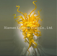Hotel Lobby Decorative Blown Glass Wall Plates Art Design Chihuly Style Glass Wall Art For Home