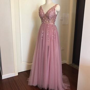 Beading Prom Dresses 2020 V neck Pink High Split Tulle Sweep Train Sleeveless Evening Gown A-line Lace Up Backless Vestido De 3
