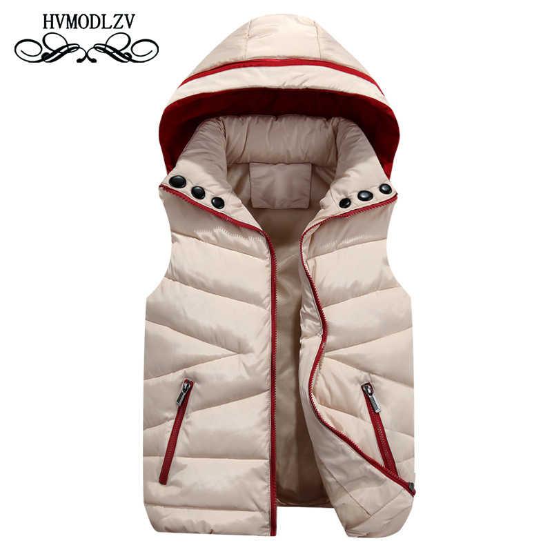 Herbst winter weste frauen 2018 neue mode mit kapuze ärmel unten baumwolle jacke Parka dicke rote Halten warme Padded westen Weiblich 536