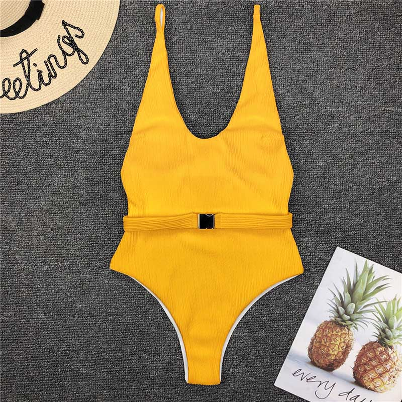 Одноцветный купальный костюм с бретельками, модель 2020 года, сексуальный купальник для женщин, с поясом, с высокой посадкой, пляжная одежда, u-... 39