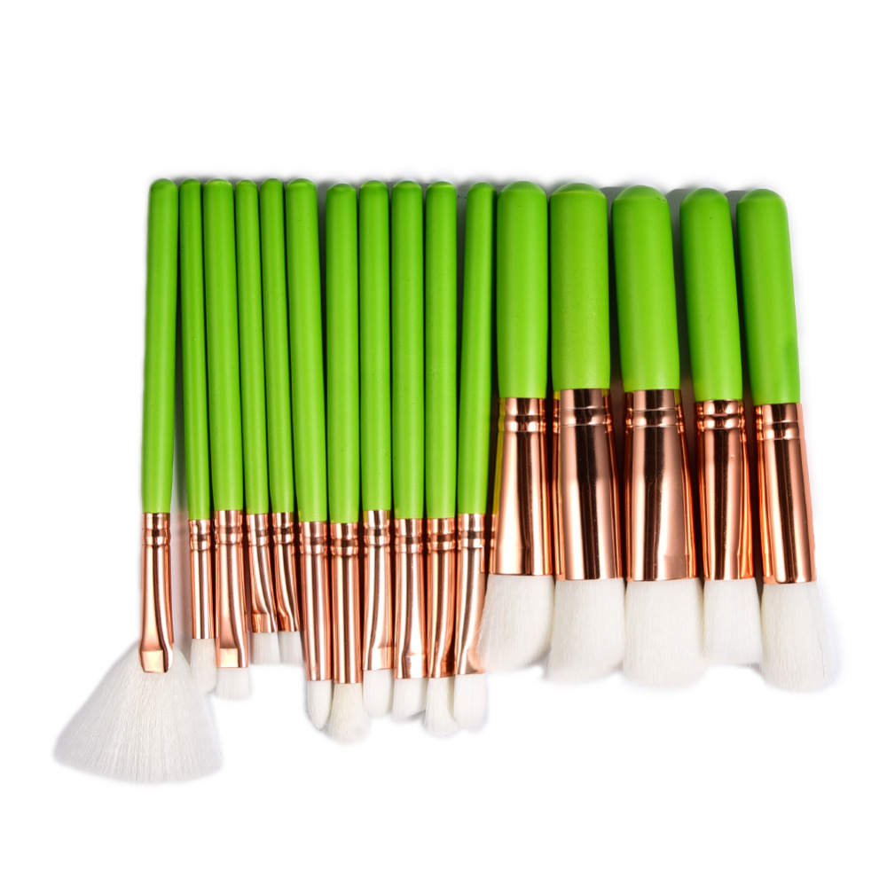 New 16pcs Green Makeup Brushes Set Nylon Hair Face Make Up Brush Tools Kit Foundation Powder Contour Blush Eye Cosmetic Brush 25pcs makeup brushes set woodcolor nylon eye foundation powder eyeshadow eyeliner blush brush make up cosmetic tools kit bag