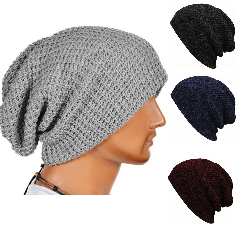 KLV Adult Men Knitted Skullcap Casual Short Thread Hip Hop Hat Beanie Wool Knitted Beanie Skull Cap Winter Warm Elastic Hats