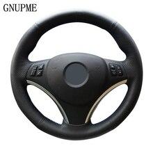 GNUPME DIY черный ручной работы из искусственной кожи чехол рулевого колеса автомобиля для BMW E90 320i 325i 330i 335i E87 120i 130i 120d