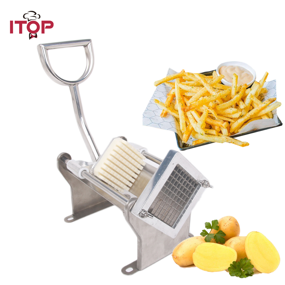 ITOP Manual Potato Chip Cutters French Fries Cutter Machine Potato Carrot Stainless Steel Vegetable Fruit Slicers With 3 BladesITOP Manual Potato Chip Cutters French Fries Cutter Machine Potato Carrot Stainless Steel Vegetable Fruit Slicers With 3 Blades