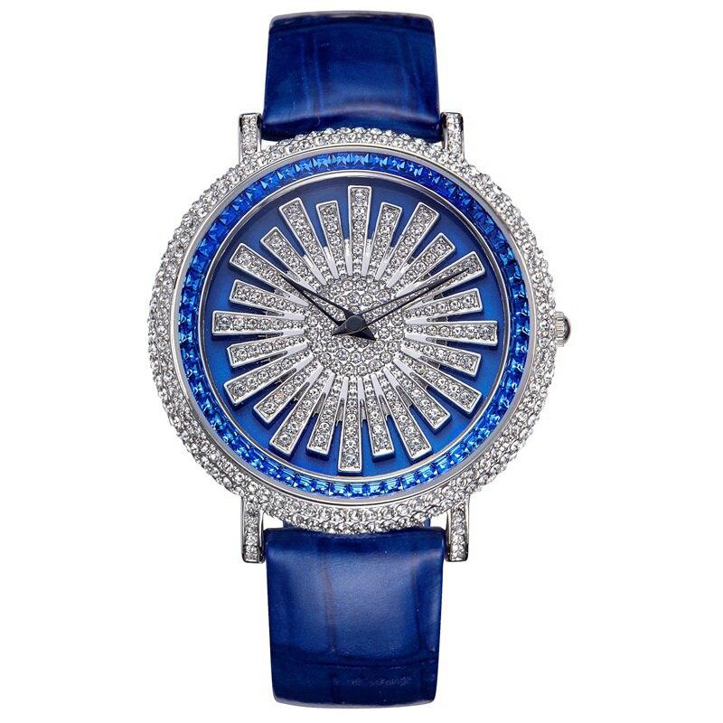 Новые вращающиеся женские часы женские кварцевые часы Дамы Полный алмаз платье стол кожаный браслет водостойкие часы лучший бренд класса л