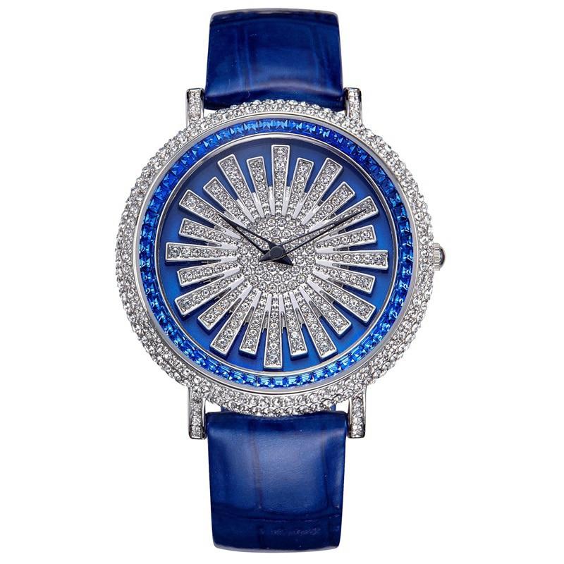 New Rotating Female Watch Woman Quartz Watch Ladies Full Diamond Dress Table Leather Bracelet Waterproof Clock Top Brand Luxury цена 2017