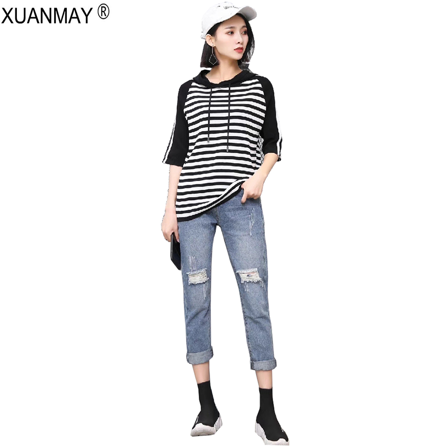 Spring Womens Hooded Striped Knit Sweater Fashion Student Dress Casual Thin Sweater 2018 Brand Design Black Spring Ladies Top