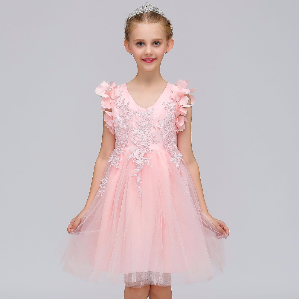 Princes Appliques Pink Silver   Flower     Girl     Dress   with Bow Sashes Knee Length O-neck Custom Made Ball Gowns for Little Baby