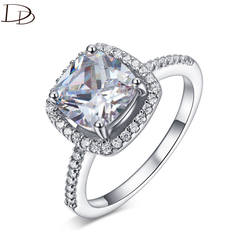 DODO classic 8x8mm fat square aaa zircon rings for women 925 sterling silver anel wedding engagement ring fashion jewelry HH002