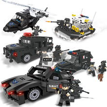 City Police Series SWAT Building Blocks Kids Assembling Weapons Aircraft Car Robot Toy Compatible with Legoings 1110pcs future knight fort series building blocks diy toy compatible legoinglys with weapons action satellite toy for child gift