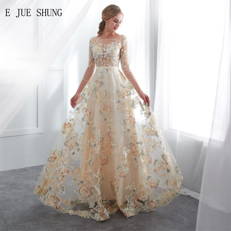 Color Wedding Gown: E JUE SHUNG Champagne Colored Lace Boho Wedding Dresses 3