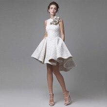 2017 Nova Alta Baixa Curto Prom Vestidos Top Quality Jewel decote Appliqued Vestido de Festa Floral Lace Vestidos de Noite Vestido De Festa