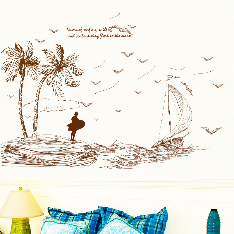 Summer island landscape wall stickers brown printed picture living room removable tropical wave sailing vinyl wallpaper mural