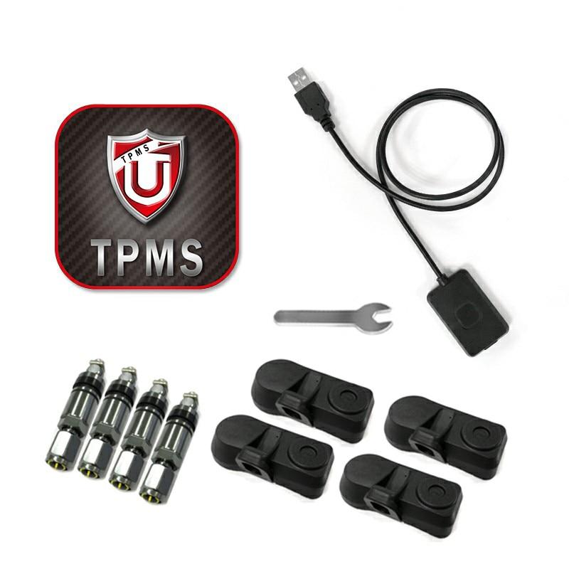 Drahtlose Bluetooth 4,0 4 stücke TPMS Sensor Reifendruck-Monitor-System Für Handy APP Display Niedrigen Energie Alarm In /externe