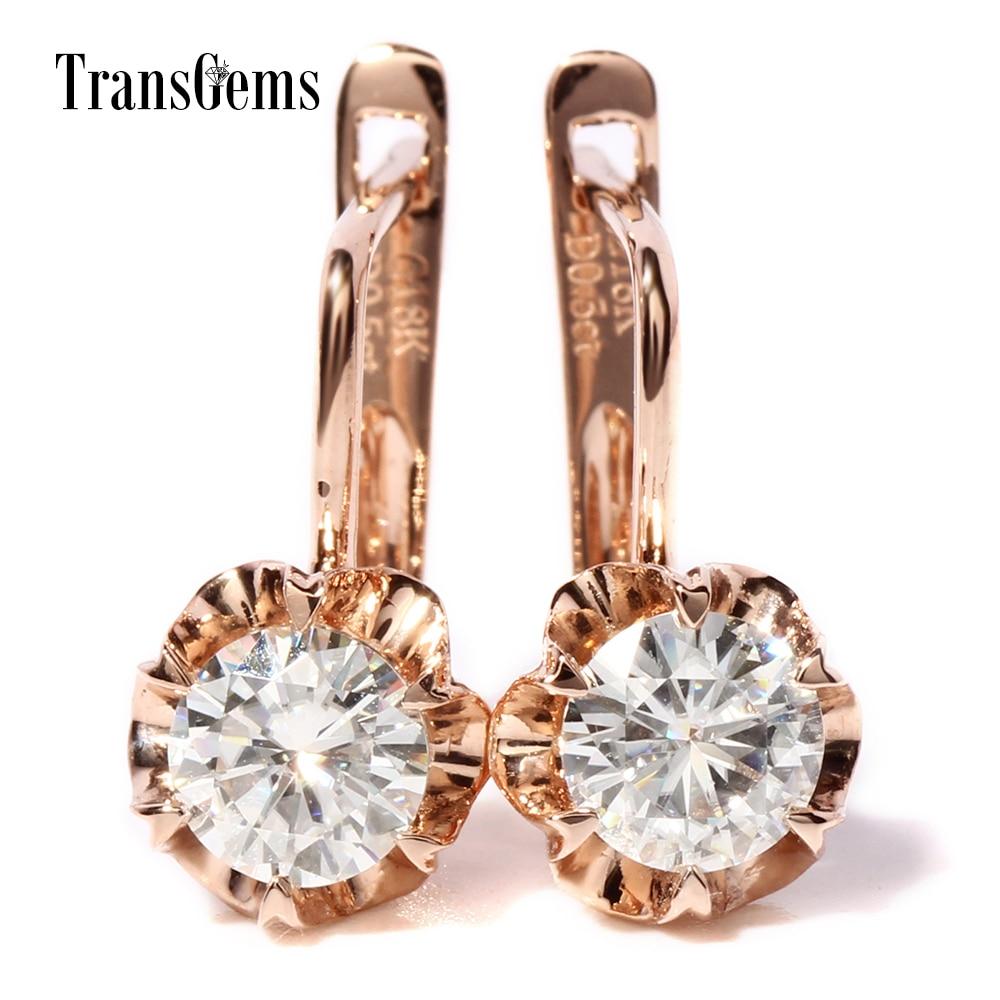 TransGems 1 TCW Carat Lab Grown Moissanite Diamant Boucles D'oreilles Solide Or Rose Femmes D'anniversaire De Mariage Cadeau