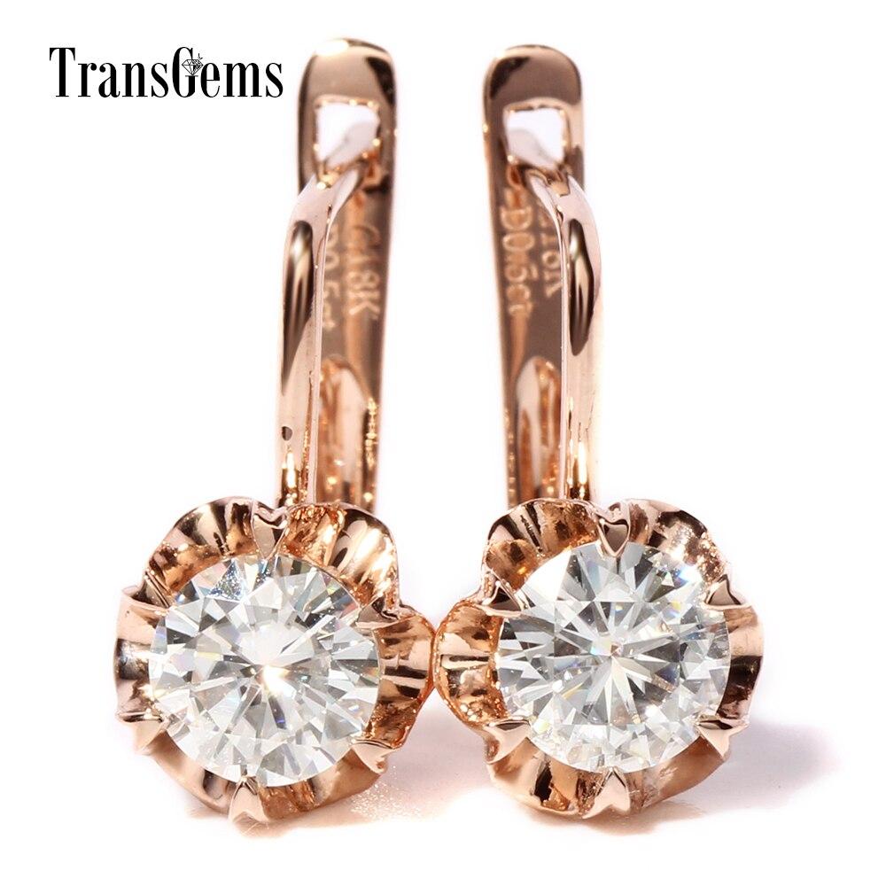 TransGems 1 TCW quilates laboratorio Grown Moissanite diamante pendientes sólido Rosa oro mujeres cumpleaños regalo de boda