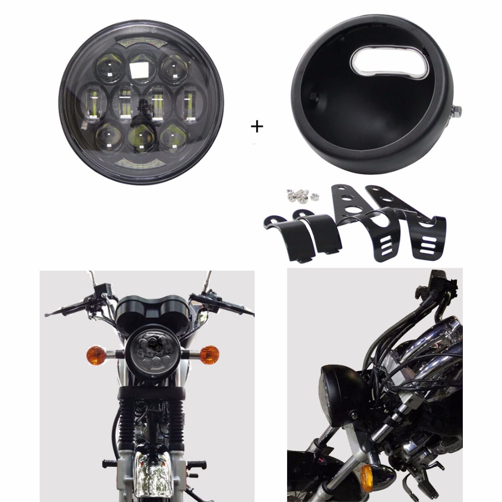 Hight bright 80W 5.75 INCH H4 LED Headlight Daytime Running lights for Harley Davidson Motorcycle Projector headlights