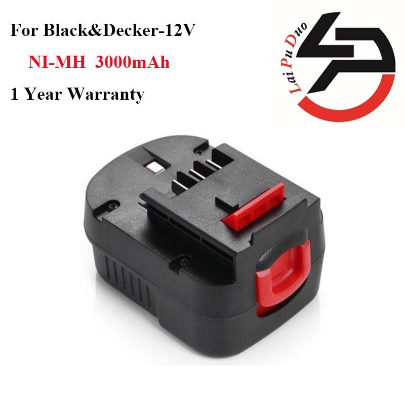 High Quality 3 0Ah 12V Ni MH Replacement Power Tool Battery for Black Decker FS120B CP122K