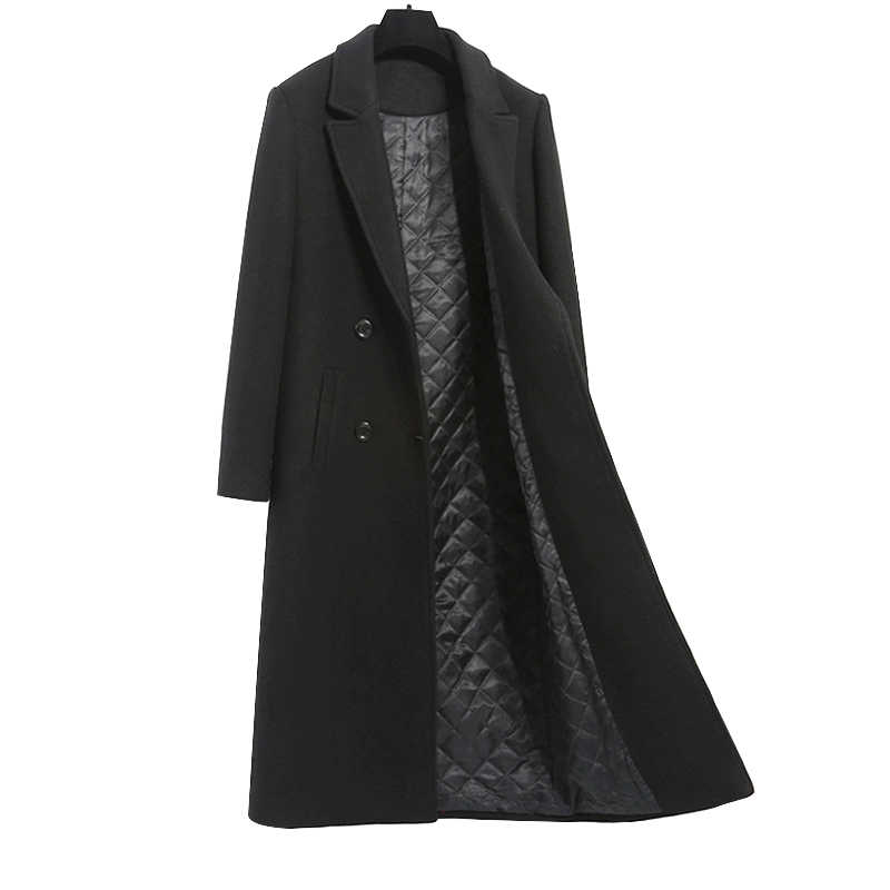High-grade Brand Women Wool Jacket Coat Warm Thick Elegant Slim Long Overcoat Plus size Female Casual Jacket Black Caramel 3XL