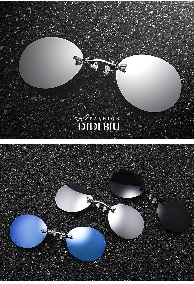 HTB1 GwSdogQMeJjy0Fjq6yExFXaV - DIDI Small Round Clip On Nose Mini Sunglasses Men Brand Cool Steampunk Sun Glasses Women Vintage Metal Black Coating Gafas H689