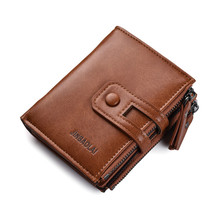 High Quality Tri-bifold Wallet Purse Pu Leather Mens Hasp Design Small Wallets With Zipper Coin Pocket Card Holder