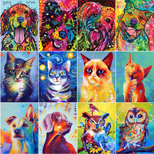 Full round diamond 5D DIY painting Colorful Dog 3D Cross Stitch Oil Painting Animal Diamond Mosaic Decoration Gift