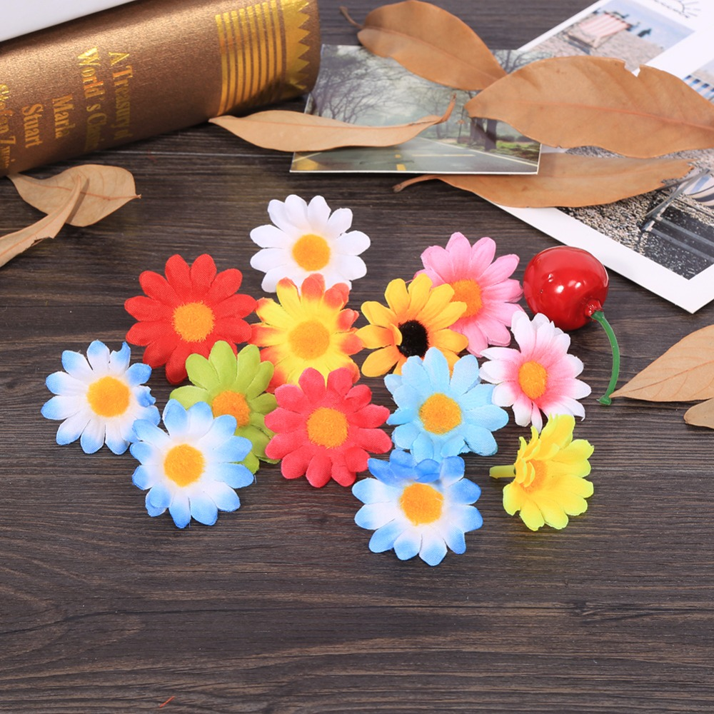 Flower heads for crafts - 11 Colors 100pcs Artificial Gerbera Daisy Fabric Flower Head Wedding Party Diy Decoration Craft Decorative Flowers