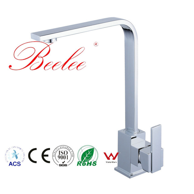 Beelee Kitchen Faucet Nordic Nickle/chrome Faucet Universal Deck Mounted Water Mixer Tap Single Hole Ceramic Plate Spool Tap