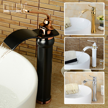 Basin Faucets Golde Brass Waterfall Bathroom Sink Faucet Single Lever Square Spout Toilet WC Hot Cold Mixer Water Taps ELW913