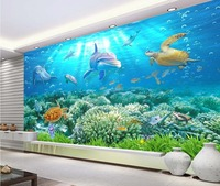 3d Wallpaper For Room Underwater World Dolphin 3D Backdrop Of Sea Turtles Photo 3d Wallpaper