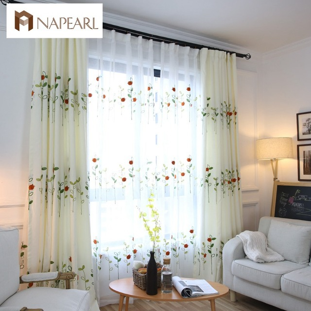 Embroidered Linen Curtains Kid Bedroom White Rustic Curtain Leave Design Door Balcony Drape Green Home Textile Readymade