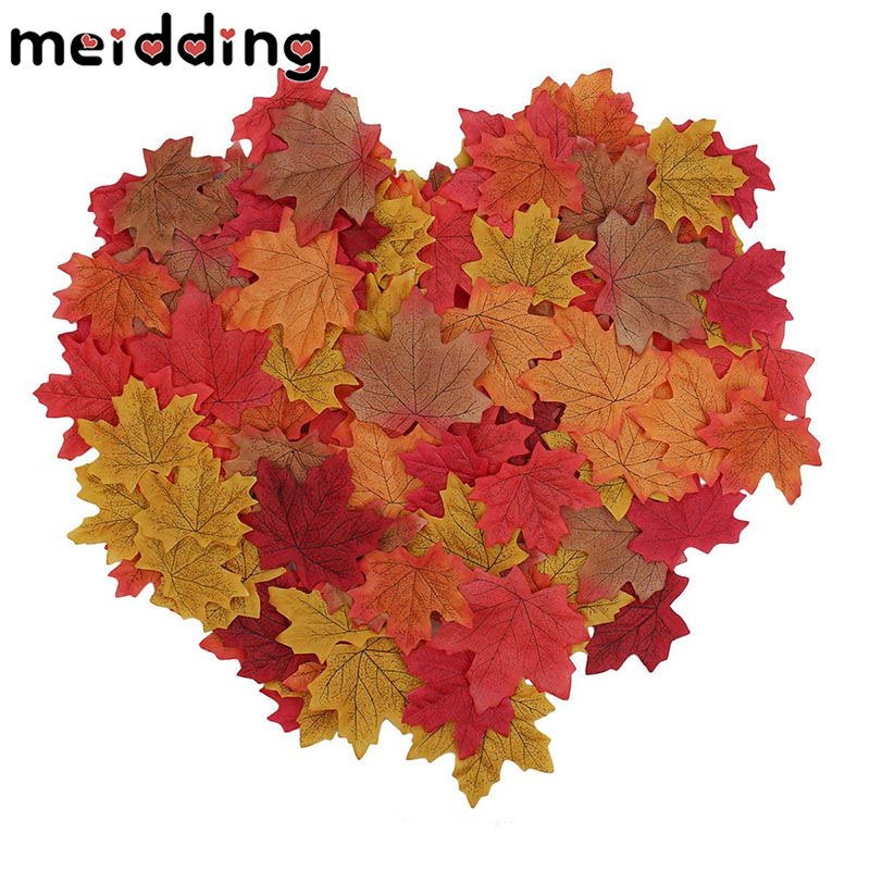 MEIDDING 50pcs New Artificial Maple Leaves Simulation Decorative Maple Leaves Fake Fall Leaves Home Wedding Party Decoration
