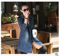 Autumn Europe style  female ladies spring and cowboy denim  coat women's long Trench  loose suit coat