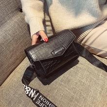 Модные Аллигатор Сумки клапаном Цвет плечевой ремень письмо Для женщин маленькая сумка через плечо сумки бренда сумка Lady Сумка