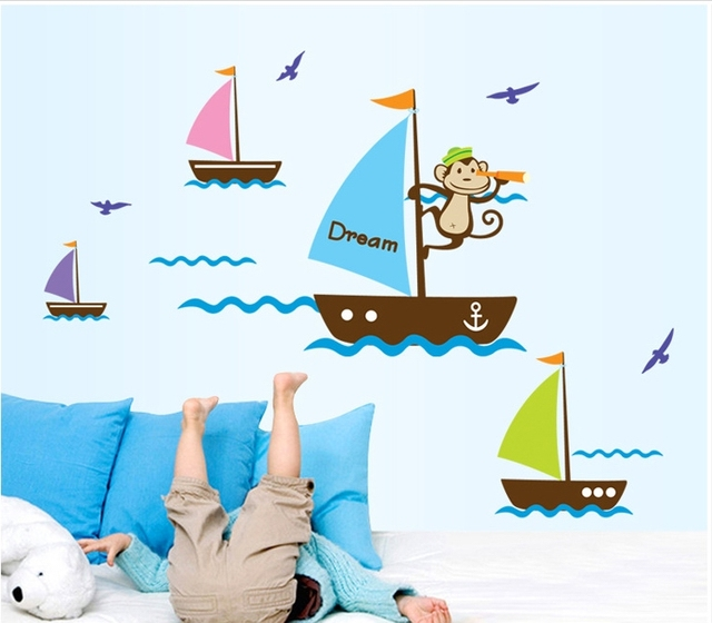 Aliexpresscom  Buy Summer Wall Stickers Sea Boats Wallpaper - Boat decals stickers   easy removal